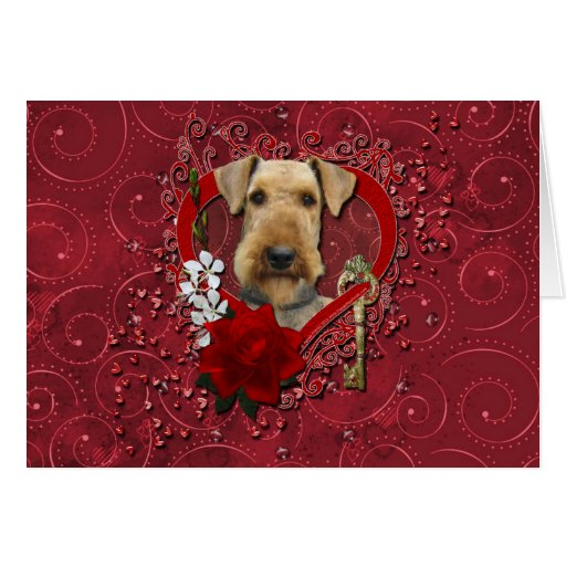 Valentines - Key to My Heart - Airedale Greeting Cards