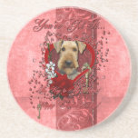 Valentines - Key to My Heart - Airedale Drink Coasters