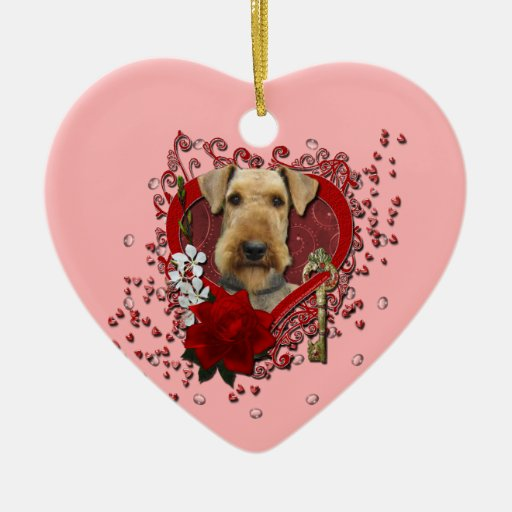 Valentines - Key to My Heart - Airedale Christmas Tree Ornament