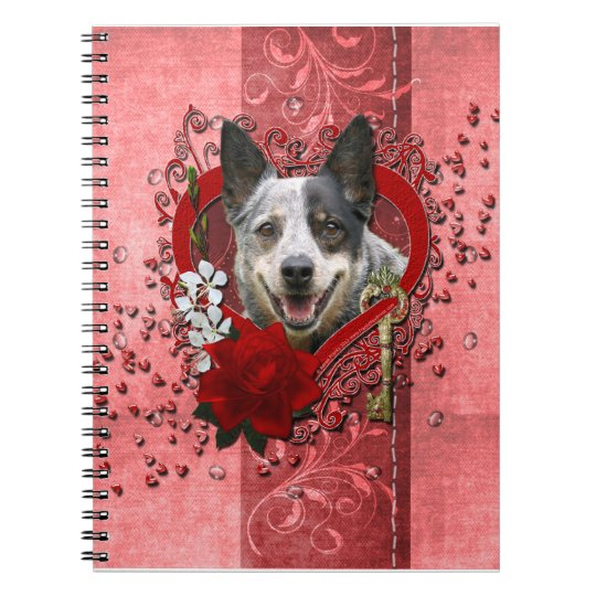 Valentines -Key to My Heart -Australian Cattle Dog Notebook