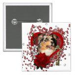 Valentines - Key to My Heart - Australian Shepherd Buttons