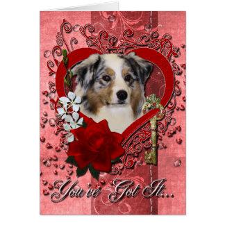 Valentines - Key to My Heart - Australian Shepherd Card