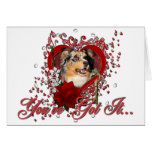 Valentines - Key to My Heart - Australian Shepherd Greeting Card