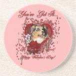 Valentines - Key to My Heart - Australian Shepherd Drink Coaster