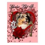 Valentines - Key to My Heart - Australian Shepherd Postcard