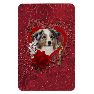 Valentines - Key to My Heart - Australian Shepherd Rectangular Photo Magnet