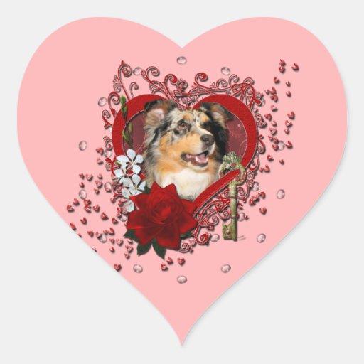 Valentines - Key to My Heart - Australian Shepherd Sticker