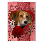 Valentines - Key to My Heart - Beagle Greeting Card