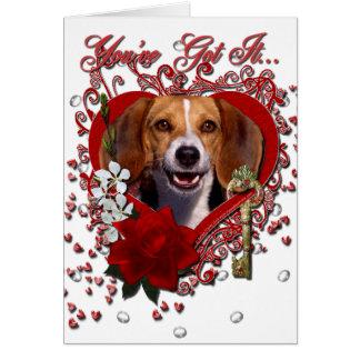 Valentines - Key to My Heart - Beagle Card