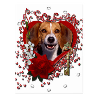 Valentines - Key to My Heart - Beagle Postcard