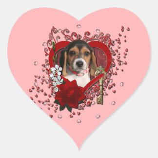 Valentines - Key to My Heart - Beagle Puppy Heart Sticker