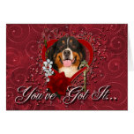 Valentines - Key to My Heart -Bernese Mountain Dog Greeting Card