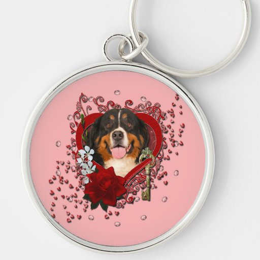 Valentines - Key to My Heart -Bernese Mountain Dog Silver-Colored Round Keychain