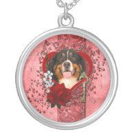 Valentines - Key to My Heart -Bernese Mountain Dog Pendant