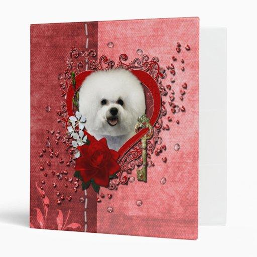 Valentines - Key to My Heart - Bichon Frise 3 Ring Binders