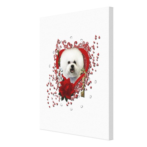 Valentines - Key to My Heart - Bichon Frise Canvas Print