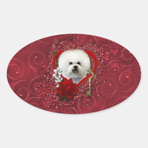 Valentines - Key to My Heart - Bichon Frise Oval Sticker
