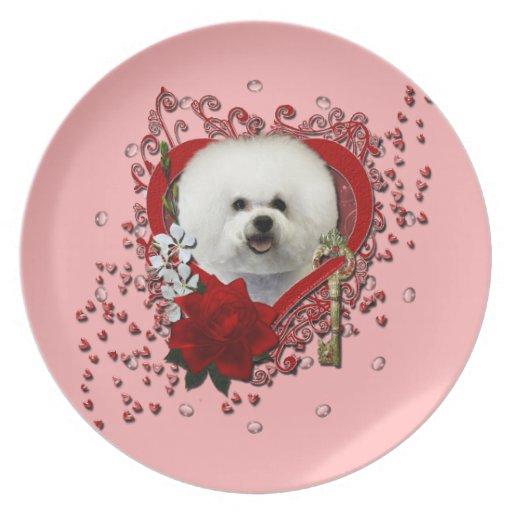 Valentines - Key to My Heart - Bichon Frise Dinner Plates