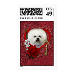 Valentines - Key to My Heart - Bichon Frise Postage Stamps