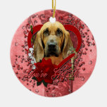 Valentines - Key to My Heart - Bloodhound - Penney Christmas Ornament