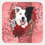 Valentines - Key to My Heart - Border Collie Square Sticker