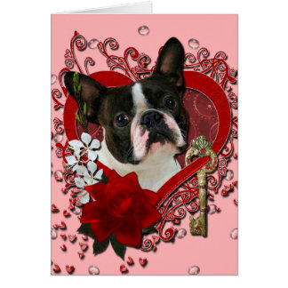 Valentines - Key to My Heart - Boston Terrier Cards