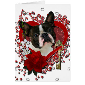 Valentines - Key to My Heart - Boston Terrier Card