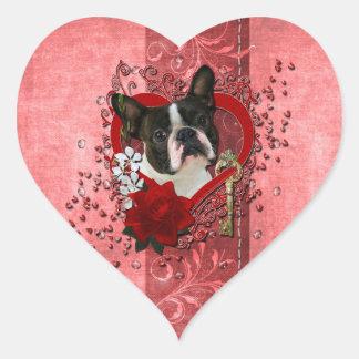 Valentines - Key to My Heart - Boston Terrier Heart Sticker