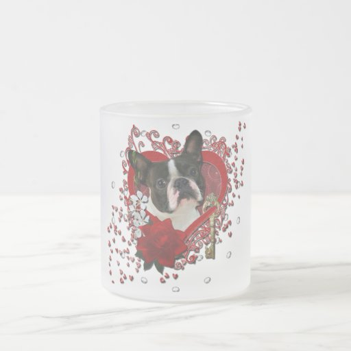 Valentines - Key to My Heart - Boston Terrier Mugs