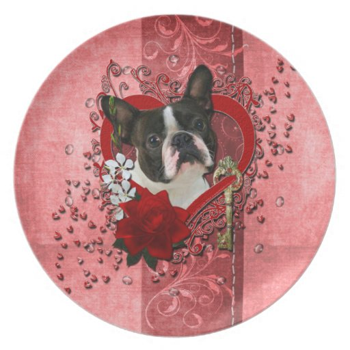 Valentines - Key to My Heart - Boston Terrier Party Plate