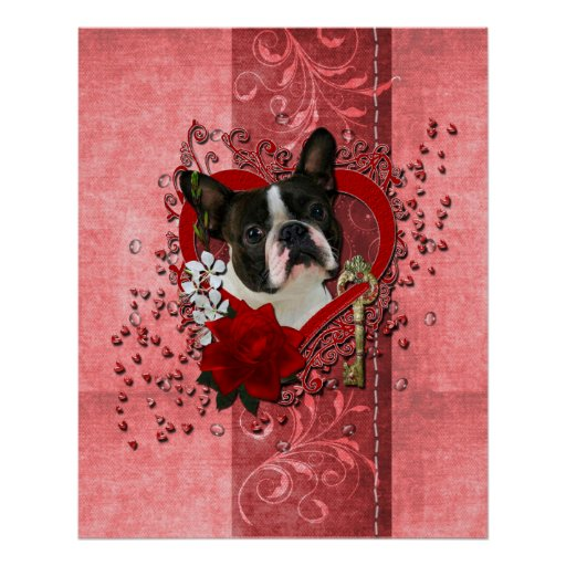 Valentines - Key to My Heart - Boston Terrier Poster