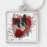 Valentines - Key to My Heart - Boston Terrier Silver-Colored Square Keychain