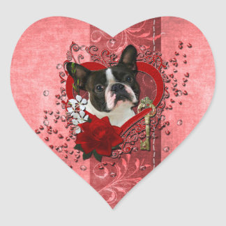 Valentines - Key to My Heart - Boston Terrier Stickers