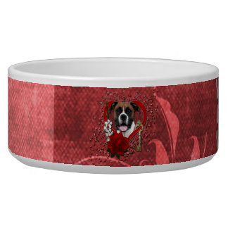 Valentines - Key to My Heart - Boxer - Vindy Dog Water Bowl