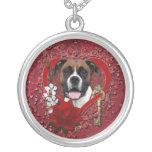 Valentines - Key to My Heart - Boxer - Vindy Round Pendant Necklace