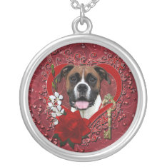 Valentines - Key to My Heart - Boxer - Vindy Silver Plated Necklace at Zazzle