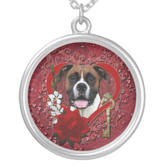 Valentines - Key to My Heart - Boxer - Vindy Silver Plated Necklace