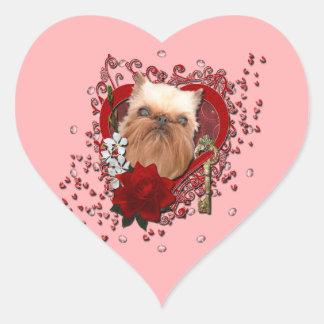 Valentines - Key to My Heart - Brussels Griffon Heart Sticker