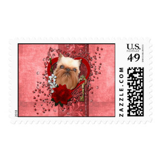 Valentines - Key to My Heart - Brussels Griffon Postage Stamps