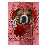 Valentines - Key to My Heart - Bulldog Greeting Cards