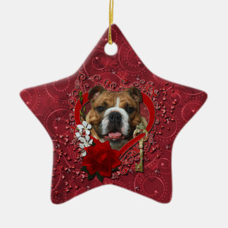 Valentines - Key to My Heart - Bulldog Double-Sided Star Ceramic Christmas Ornament