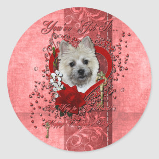 Valentines - Key to My Heart - Cairn Terrier Classic Round Sticker