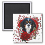 Valentines - Key to My Heart - Cavalier - Dark 2 Inch Square Magnet