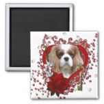 Valentines - Key to My Heart - Cavalier - Light 2 Inch Square Magnet
