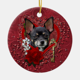 Valentines - Key to My Heart - Chihuahua -Isabella Ceramic Ornament