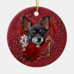 Valentines - Key to My Heart - Chihuahua -Isabella Double-Sided Ceramic Round Christmas Ornament