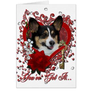 Valentines - Key to My Heart - Corgi Greeting Card