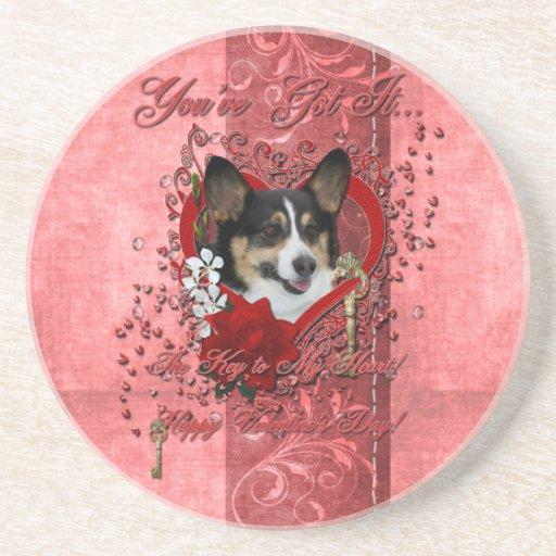 Valentines - Key to My Heart - Corgi Coasters