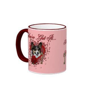Valentines - Key to My Heart - Corgi Coffee Mugs