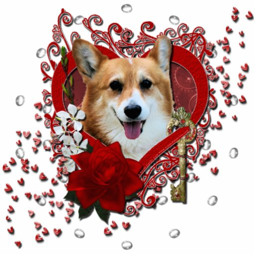 Valentines - Key to My Heart - Corgi - Owen Standing Photo Sculpture